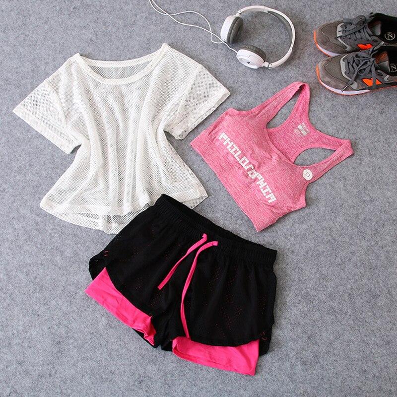 Notícias 3 em 1 Correndo Yoga Terno Do Esporte T-Shirt + Bra + Shorts Feminino Respirável Ginásio Jogging Esporte conjunto Verão Quick Dry Meninas Ternos Yoga