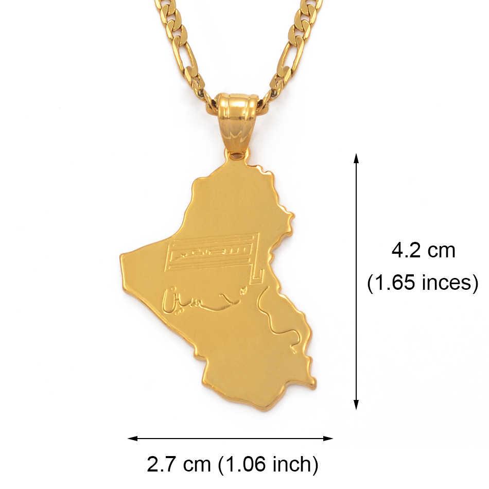 Anniyo רפובליקה של עיראק מפת לאומי דגל, זהב צבע המפה של עיראק תליון שרשראות תכשיטי לנשים גברים, העירקי פריטים #030606