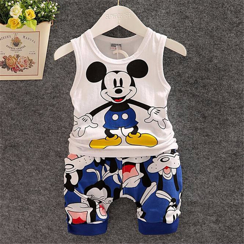 цены BibiCola New Cartoon Summer Baby Boy Clothing Set Tank Top + Shorts Kid Boy Summer Set Children Boy Clothes Set Sleeveless