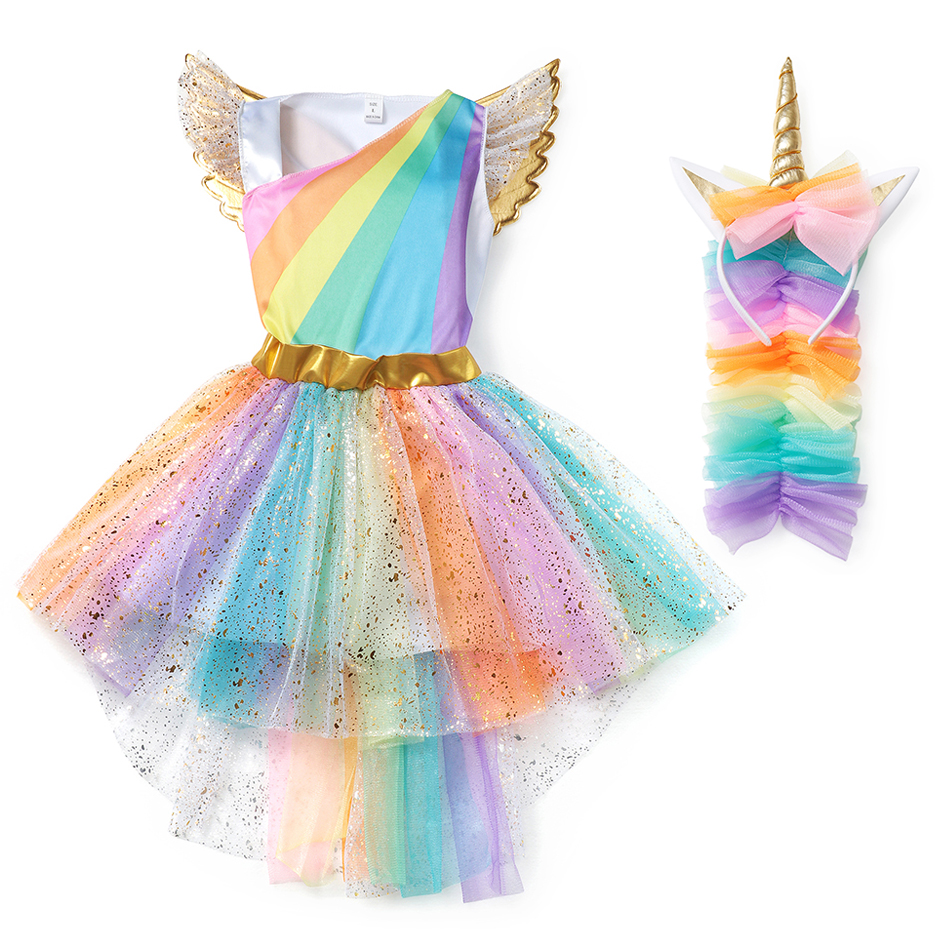 YOFEEL Girls Rainbow Unicorn Dress Cosplay Angel Prom Costume Kids Tutu Princess Lace Dresses Hair Hoop Wing Set Party Halloween
