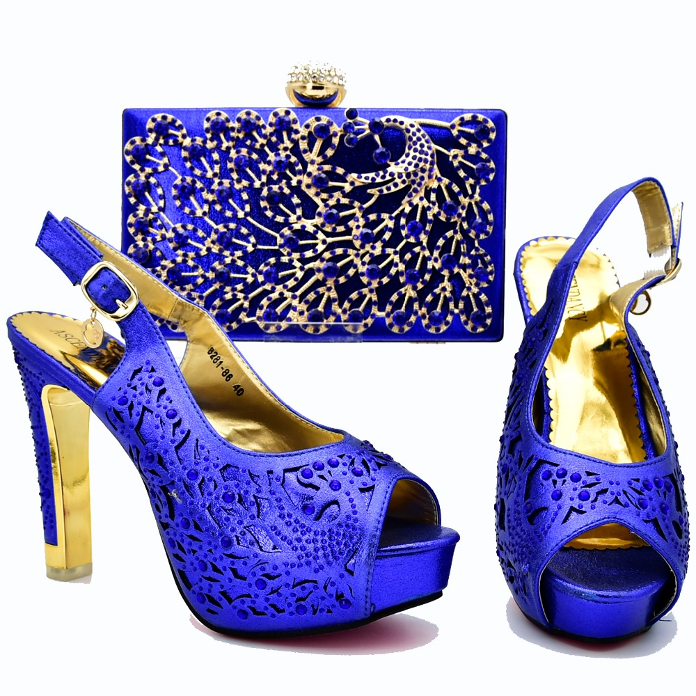 African aso ebi party shoes matching bag set in royal blue new fashion shoes and bag set many rhinestones shoes bag set SB8277-3African aso ebi party shoes matching bag set in royal blue new fashion shoes and bag set many rhinestones shoes bag set SB8277-3