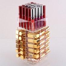 Organiseur à maquillage acrylique rotatif haute capacité, boîtier dexposition rotatif mallette de rangement étui de rouge à lèvres boîtes dexposition pour brillant à lèvres