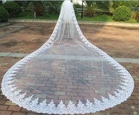 Real 5m*3m Cathedral Length Long Wedding Veils Two Tiers Bridal Dresses Veil Lace Applique Tulle With Free Comb C