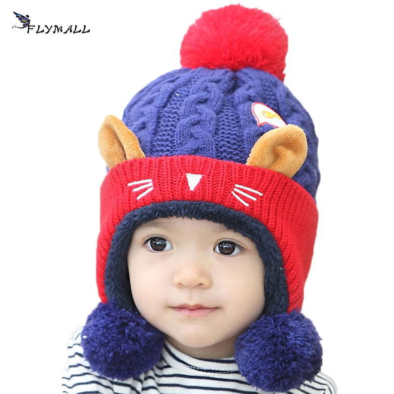 FLYMALL Baby Winter Hat Warm Kids Beanie Cap Animal Cat Ear For Baby Children Boys Girls Crochet Knitted Hat Christmas Gifts 2016 winter new soft bottom solid color baby shoes for little boys and girls plus velvet warm baby toddler shoes free shipping