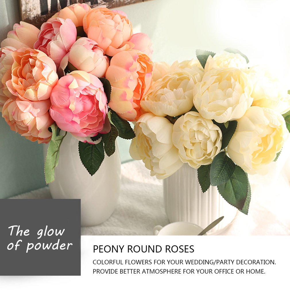 Christmas Wedding Bouquets And Flowers: 6 Heads Artificial Flowers Round Peony Bridal Bouquet Silk