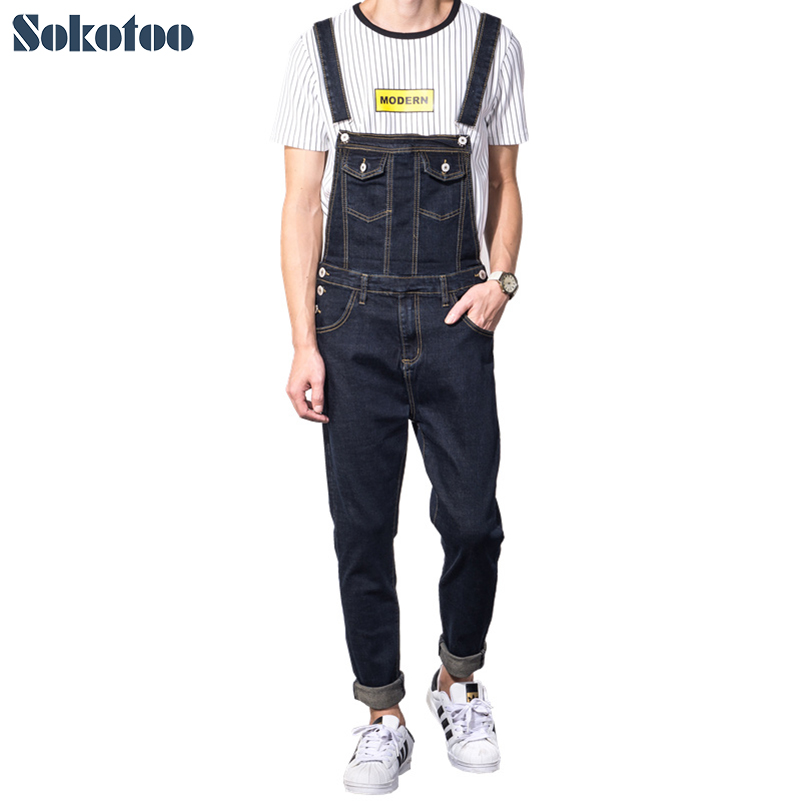 Sokotoo Men's slim pocket blue black denim bib overalls Casual jeans for man Jumpsuits 2016 new men s casual pocket blue denim overalls slim jumpsuits pants ripped jeans for man plus size 28 34