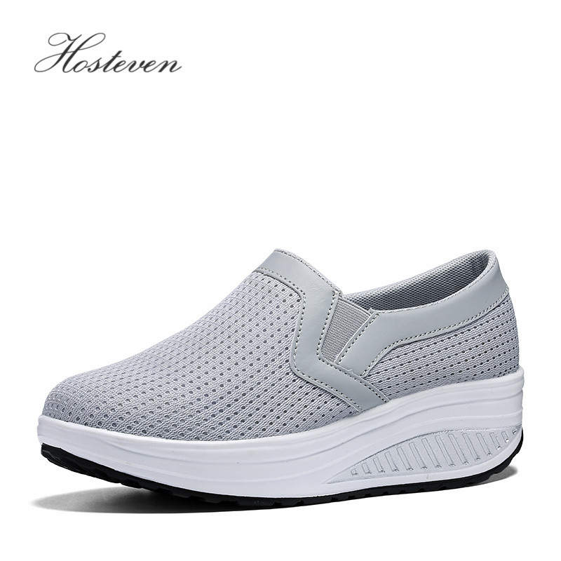 Hosteven Femmes Chaussures Casual Plate-Forme de Baskets Femmes Vulcaniser Chaussures Dames Air Mesh Chaussures Femme Chaussures Solide Plus 35-43