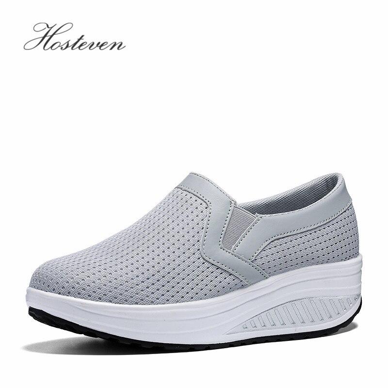 Hosteven Women's Shoes Casual Platform Sneaker Women Vulcanize Shoes Ladies Air Mesh Shoes Woman Solid Footwear Plus 35-43