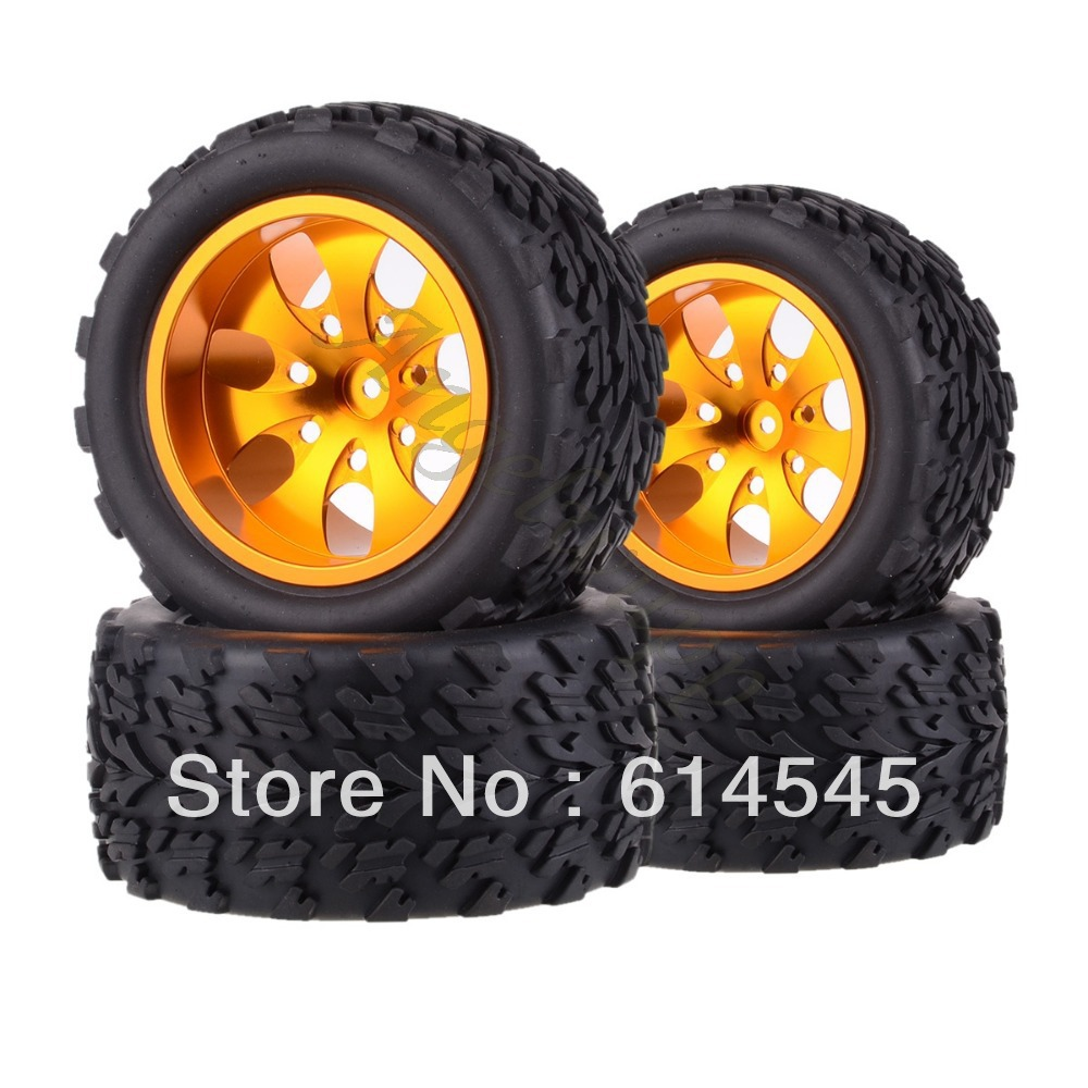 цена на DQR 4x RC Monster Truck Bigfoot Metal Wheel Rim & Tyre Tires 12MM HEX 88117 1:10 RC123 Store