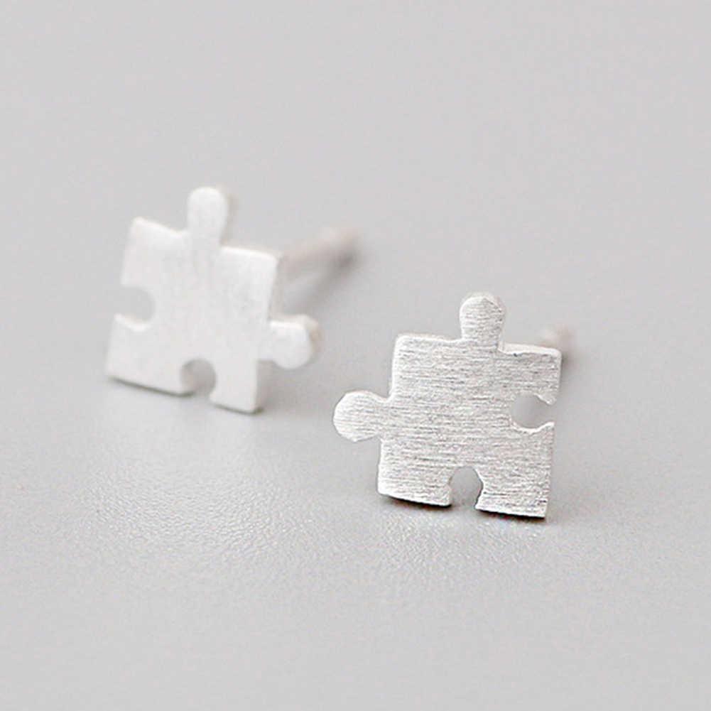 Wanita Gambar Permukaan Jigsaw Puzzle Bentuk Telinga Stud Anting-Anting Fashion Perhiasan