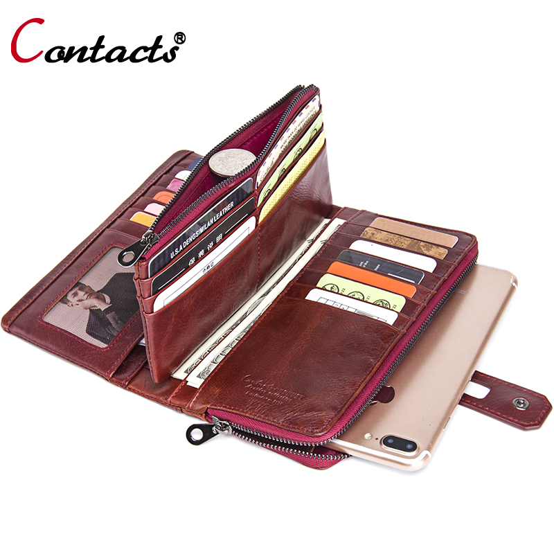 Contact's Unisex Genuine Leather Wallet Women Coin Purse Female Card Wallet Men Clutch Bag Money Phone Credit Card Holder Walet tuokayisi brand luxury genuine leather women wallet female purse weave credit card holder gold clutch phone holders money bag