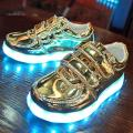 New Kids USB Charging LED Light Shoes Soft Leather Casual Soft Boy&Girl Luminous Antiskid Bottom Children Party Sneakers 671
