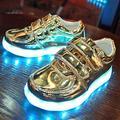 Nuevos Niños Zapatos de Cuero Suave Ocasional de Carga USB LLEVÓ La Luz Suave Boy & Girl Luminosa Antideslizante Inferior de Partido de Los Niños Zapatillas de Deporte 671