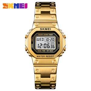 Image 1 - SKMEI Marke frauen Uhr Luxus Sport Digitale Frauen Uhr Armband Wasserdichte Stoppuhr Countdown Damen Kleid Handgelenk Uhren