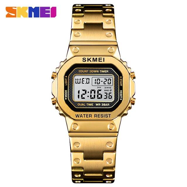 SKMEI Marke frauen Uhr Luxus Sport Digitale Frauen Uhr Armband Wasserdichte Stoppuhr Countdown Damen Kleid Handgelenk Uhren