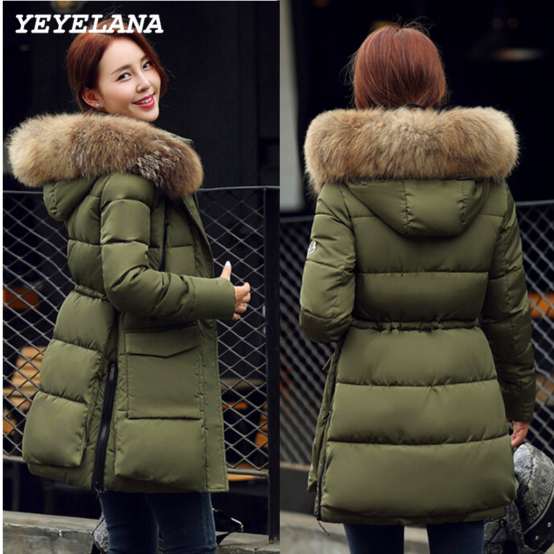 YEYELANA Women Coat Parkas Jackets 2017 New Autumn Winter Jacket Big Real Fur Regular Warm Ladies Outwear With Long Sleeves