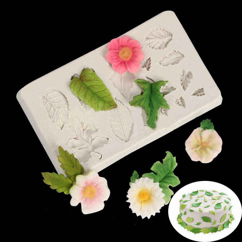Flower Leaf Pattern Silicone Fondant Cake Soap Mold For Cake Decorating Tools Kitchen Baking Pastry Fondant Easter Decor