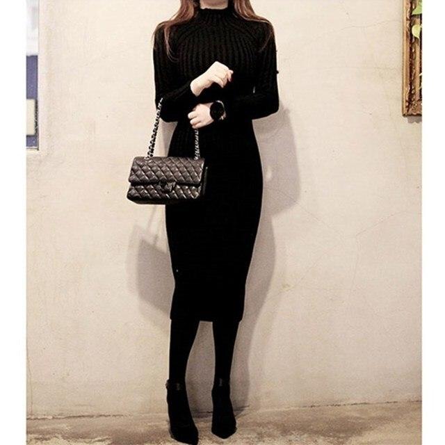 Autumn Warm Long Sleeve Turtleneck Sweater Dresses Women Red Black Knitted Dress Slim Sheath Knit Dress