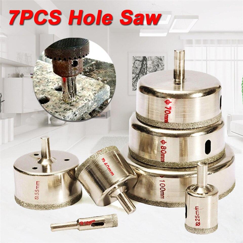 цена на New Arrival 7Pcs/Set Metal Diamond Coated Core Hole Tile Marble Glass Saw Drill Bit Set 10-100mm Hot Sale