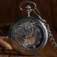 Luxury Self Winding Phoenix Case Arabic Hollow Silver Automatic Mechanical Pocket Watch Chain Men Women Pendant