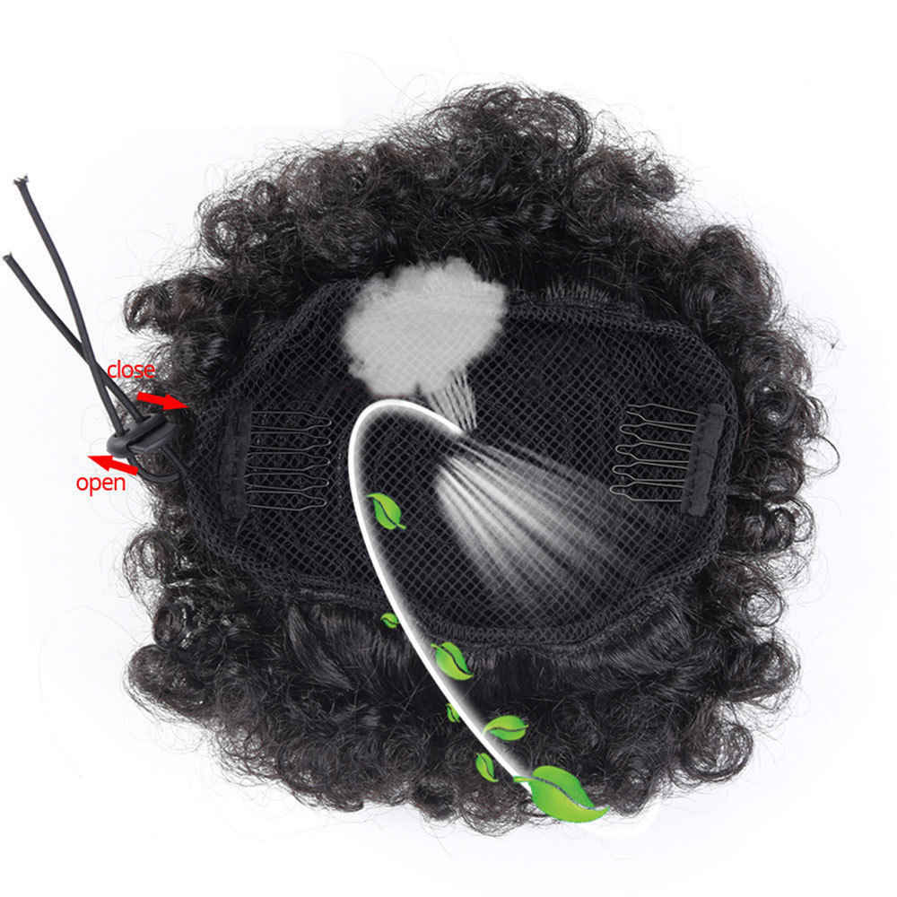 """S-noilite 6 """"8"""" синтетический пышный афро короткий кудрявый шиньон волос булочка шнурок конский хвост обертывание накладные волосы для наращивания"""