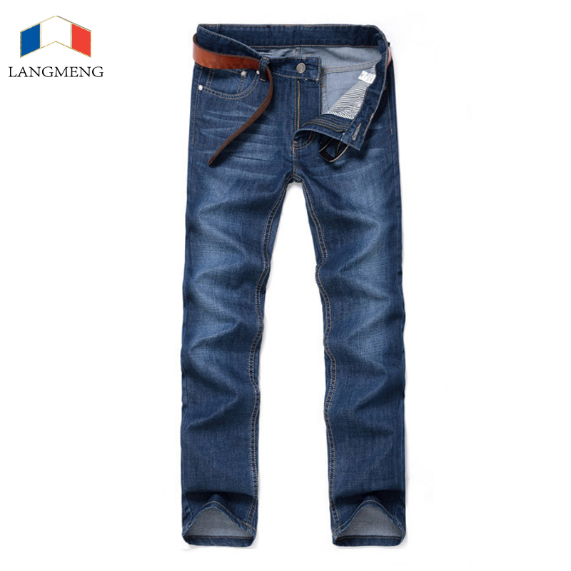 LANGMENG 2017 New Autumn Fashion Casual Jeans Men Long Trousers Softener Deep Blue Skinny Jeans Denim Pants Jeans Brand Clothing 2016 new mens jeans pants elastic mid rise straight men clothing tops trousers deep blue casual trousers cool stretch men jeans