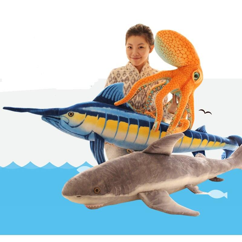 Gros poulpe jouets en peluche requin tenir oreiller poupée bébé poupée cadeau d'anniversaire créatif