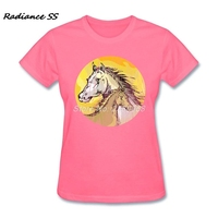 Fashion Cool Horse Womens T Shirt Latest Short Sleeve O Neck Organic Cotton T Shirt For