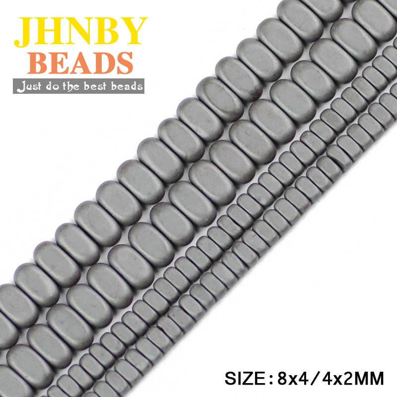 Jhnby aaaフラット長方形マット黒ヘマタイト8 × 4/4 × 2ミリメートル立方体天然石ルースビーズ用ジュエリーブレスレットを作るdiy所見