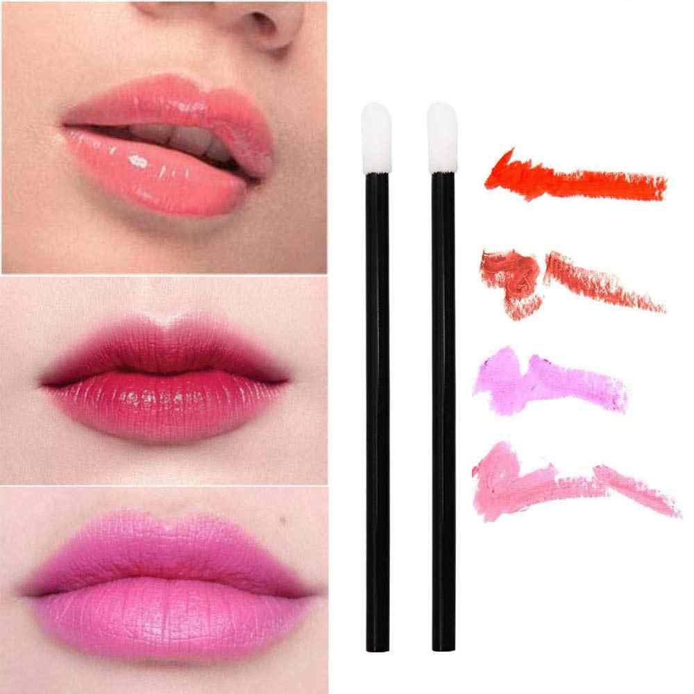 50 pcs/paquet lèvres jetables brosse Rouge à lèvres brillant à lèvres baguettes pinceau applicateur Rouge clair pinceaux de maquillage outils cosmétiques