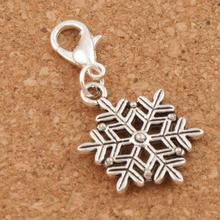 Christmas Frozen Snowflake Lobster Claw Clasp Charm Beads 16.8x36.5mm 100pcs Tibetan silver Jewelry DIY C739