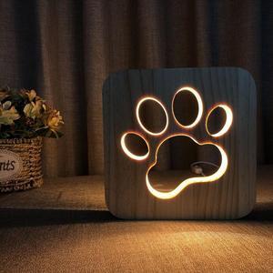 Image 1 - 木製犬足猫動物の夜の光フレンチブルドッグluminaria 3Dランプusb電源デスクライトクリスマスのため新新年のギフト