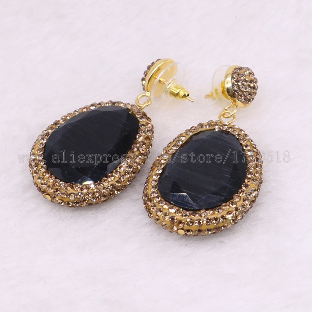 5 pairs faceted Stone dangle earrings pave gold Rhinestone drop earrings Wholesale drop earrings Gems jewelry
