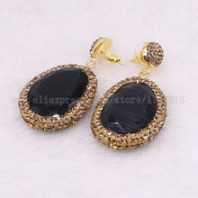 5 pairs faceted Stone dangle earrings pave gold Rhinestone drop earrings Wholesale drop earrings Gems jewelry 2432(China)