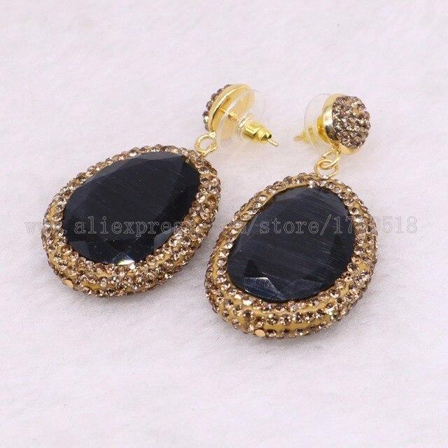 Pendientes colgantes de piedra facetada para mujer, aretes de gota de oro con diamantes de imitación, joyería de gemas 2432, 5 pares