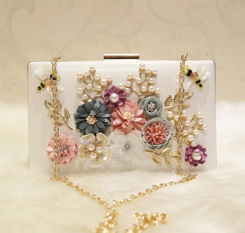 Bag women's bag 2017 new Korean fashion flower chain single shoulder diagonal small square bag dinner handbags