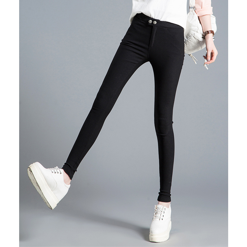 JUJULAND plus size button fly women high waist black pants for elastic skinny stretch