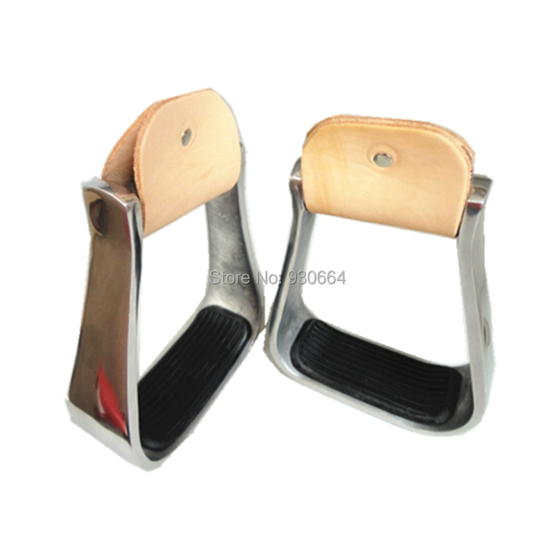 Western Aluminum Barrel Racing Stirrups Wrapped Genuine Leather  With Black Rubber Pad Horse Products F1011