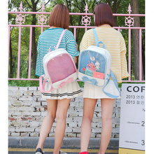 Cute Bow Women Backpack Clear Ita Transparent Women Backpack Mini PU Leather Schoolbags For Teenage Girls