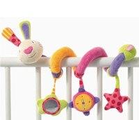 Infant Shining Plush Rattles Handbells Toys Rainbow Rabbit Bed Around Safety Educational Baby Hand Bell Kids Toys