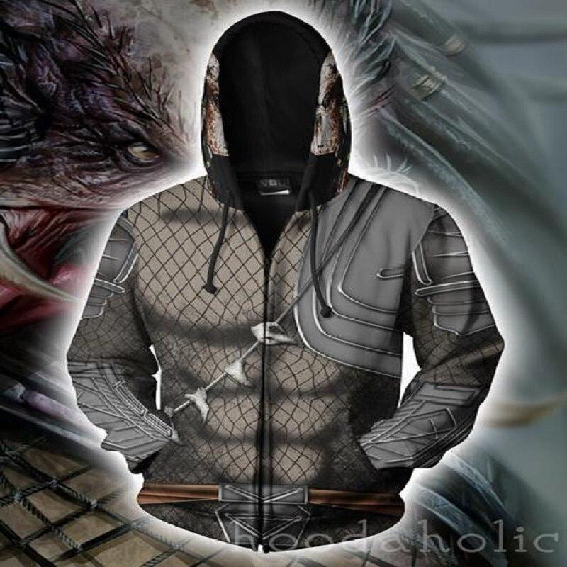 BIANYILONG 2018 new women men hooded predator 3D printed hoodies tracksuit zipper hoodie hip hop tops Zip size hoodie
