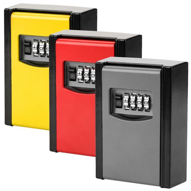 4 Digit Combination Password Lock Safe Box Keys Storage Box Wall Mounted Safety Organizer Boxes Locks