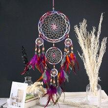купить Feather Crafts Dream Catcher Wind Chimes Handmade Indian Dreamcatcher Net for Wall Hanging Car Home Decor Kids Room Decoration дешево