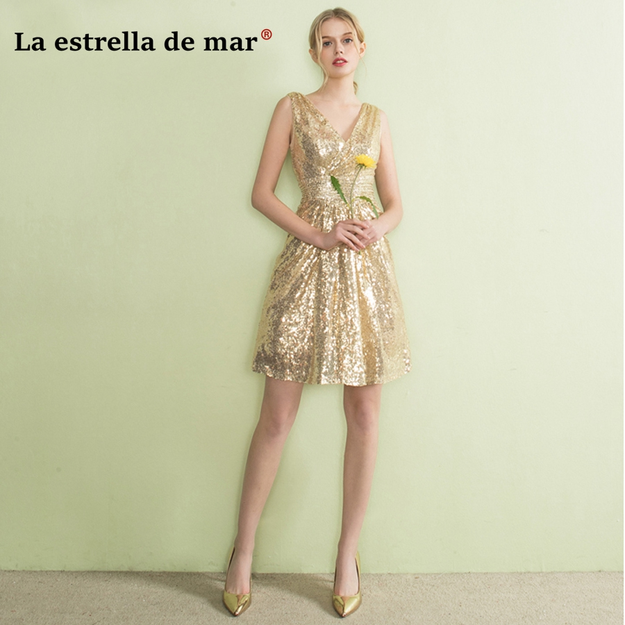 robe demoiselle d'honneur2018 New Sexy V Neck Knee Length Gold Navy Blue Sequin   Bridesmaid     Dress   Pretty vestido madrinha