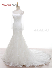 Vivian's Bridal Satin Lace Mermaid Beading Long Sleeves Wedding Dresses Sequin Wedding Gown WD550