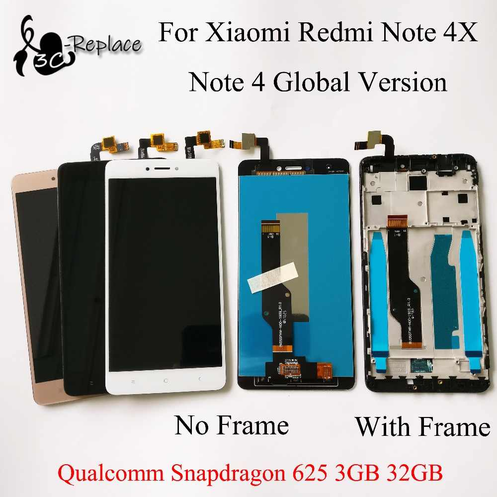 Voor Xiaomi redmi note 4X note 4 Global Versie Qualcomm Snapdragon 625 3GB 32GB lcd touch screen digitizer /met frame