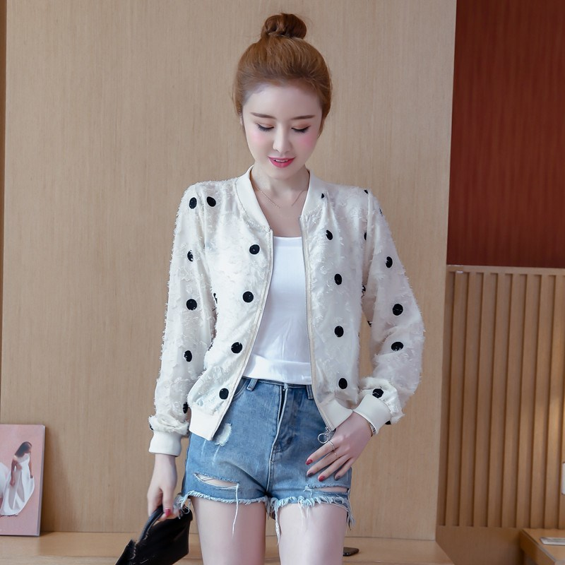 2019 Korean Slim Baseball Short Jacket Summer Casual White Thin Women's Bomber Jacket Polka Dot Dot Sunscreen Cardigan Jacket 39