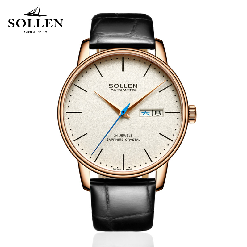 New SOLLEN Brand Luxury Men Watch Simple Business Style Automatic Mechanical 3ATM Watch Natural Cowhide Strap Relogio Masculino reloj hombre 2017 luxury brand sollen men watch simple business style automatic mechanical cowhide strap watch relogio masculino