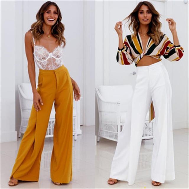 2018 Женская мода Широкие штаны Элегантный рюшами Брюки для Для женщин Высокая талия широкие штаны женские Повседневное Palazzo плавки