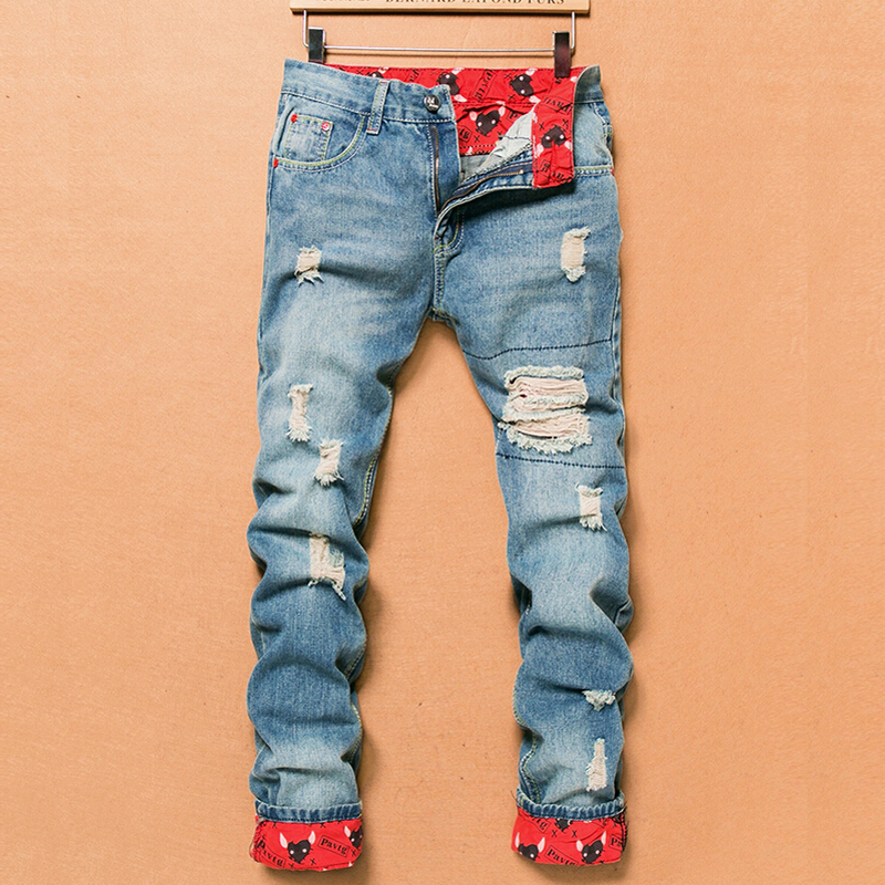 2018 Retro Fashion Slim Skinny Jeans Mens Solid Casual Straight Jeans Designer Brand Ripped Jeans Men, Light Blue Denim Pants